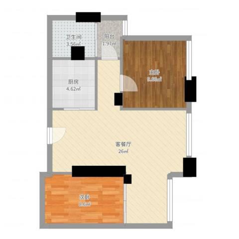 大东门华庭1503-林c2室2厅1卫1厨68.00㎡户型图