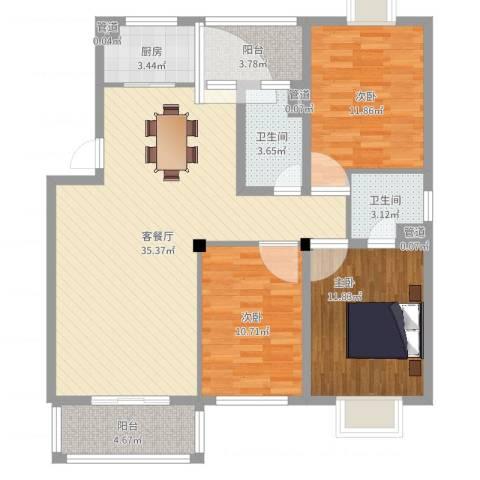 华泰剑桥3室2厅4卫2厨111.00㎡户型图