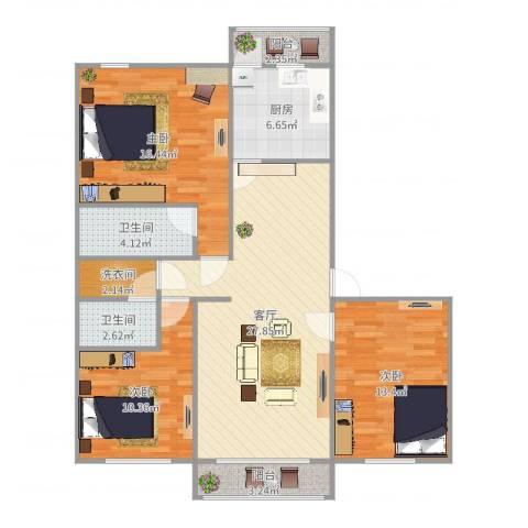 云趣园一区3室1厅2卫1厨111.00㎡户型图