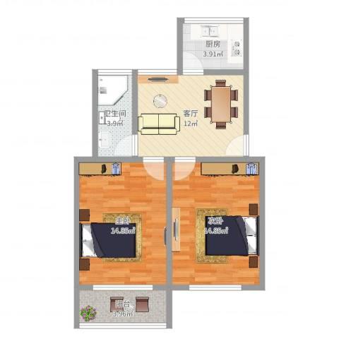学北路20弄小区2室1厅1卫1厨67.00㎡户型图