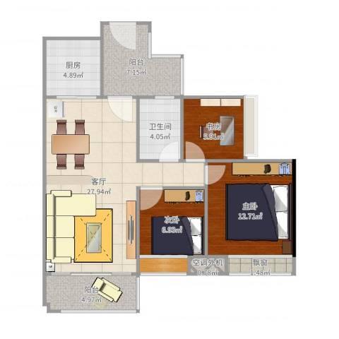保利生态城3室1厅1卫1厨97.00㎡户型图
