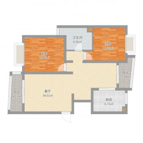 真情公寓2室1厅1卫1厨100.00㎡户型图