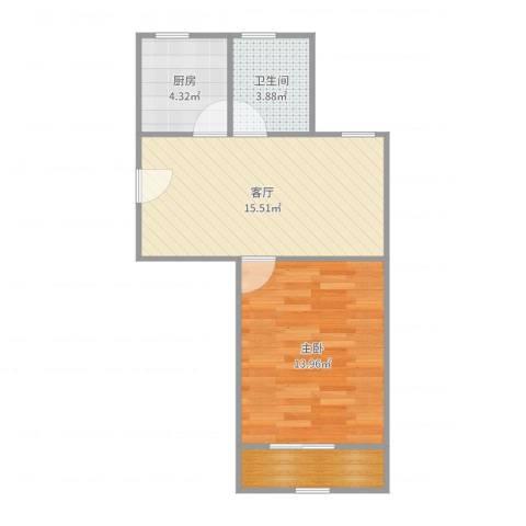 馨兰小区1室1厅1卫1厨51.00㎡户型图
