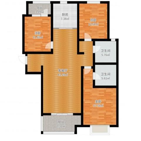 幸福城3室2厅2卫1厨143.00㎡户型图