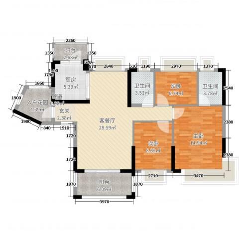 鸿安御花园3室2厅2卫1厨113.00㎡户型图