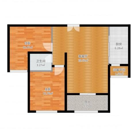 新公馆2室2厅1卫1厨90.00㎡户型图