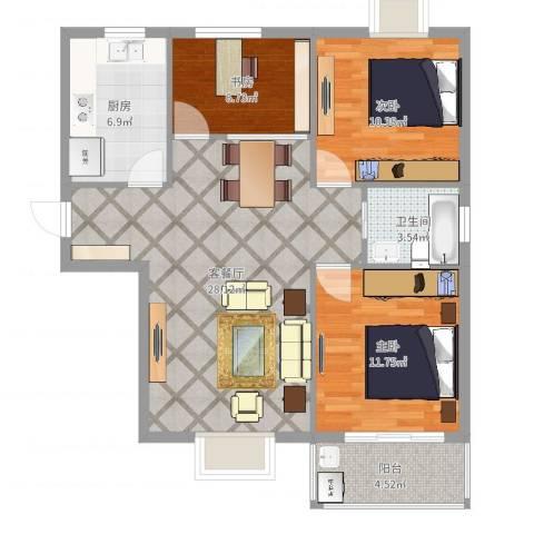 北城春色3室2厅1卫1厨90.00㎡户型图