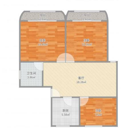 新泾苑3室1厅1卫1厨82.00㎡户型图