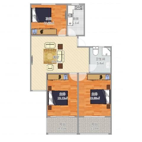 新泾苑3室1厅1卫1厨103.00㎡户型图