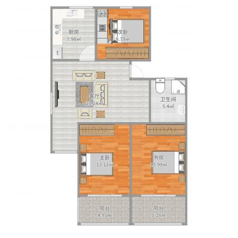 新泾苑3室1厅1卫1厨105.00㎡户型图