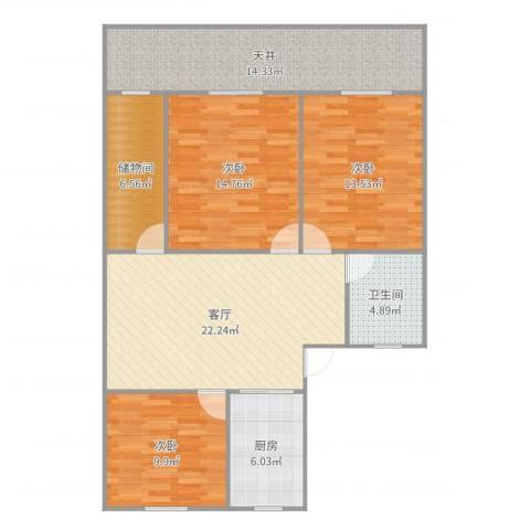 新泾苑3室1厅1卫1厨115.00㎡户型图