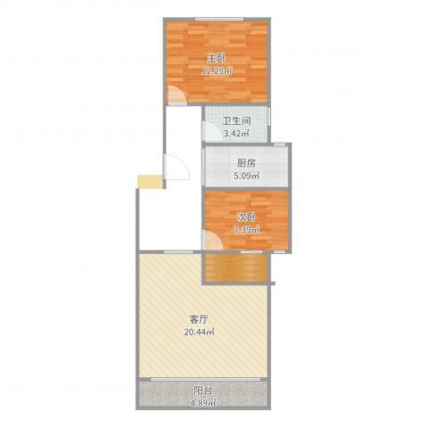 滨江小区2室1厅1卫1厨70.00㎡户型图