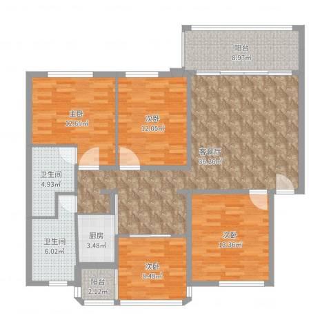 黄岐花园4室2厅2卫1厨135.00㎡户型图