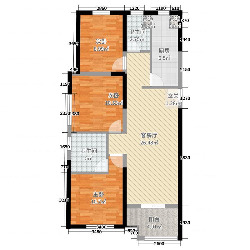 万科翡翠国际120.00㎡1-3号楼B1户型3室3厅2卫1厨