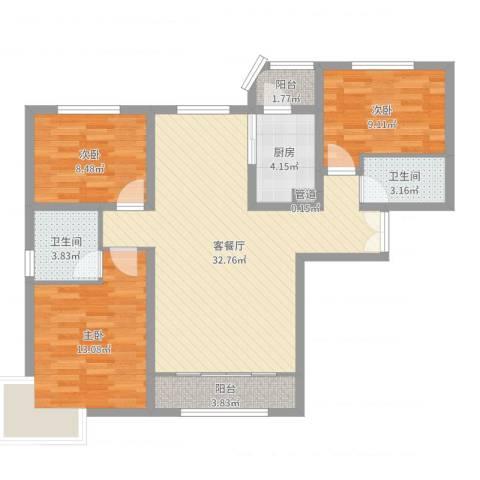 天洋城4代3室2厅2卫1厨100.00㎡户型图