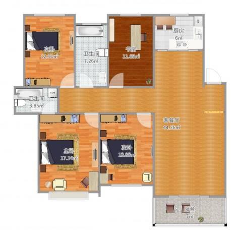 金地华城三期4室2厅2卫1厨155.00㎡户型图