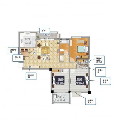 中盛・凤凰假日2室2厅3卫2厨113.00㎡户型图
