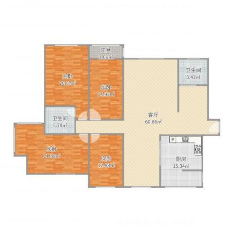 公务员小区4室1厅2卫1厨201.00㎡户型图