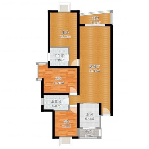 新华世纪园3室2厅2卫1厨103.00㎡户型图