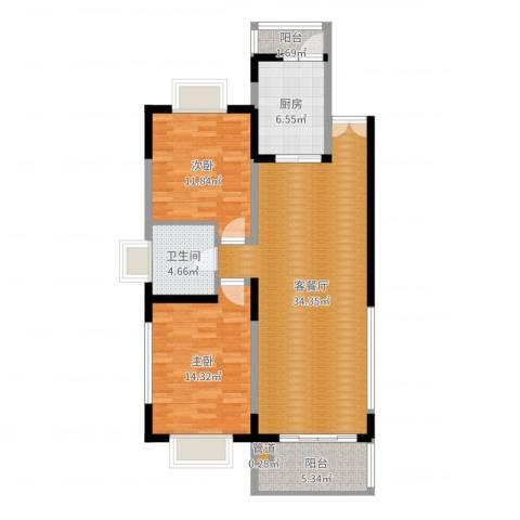 新华世纪园2室2厅1卫1厨99.00㎡户型图