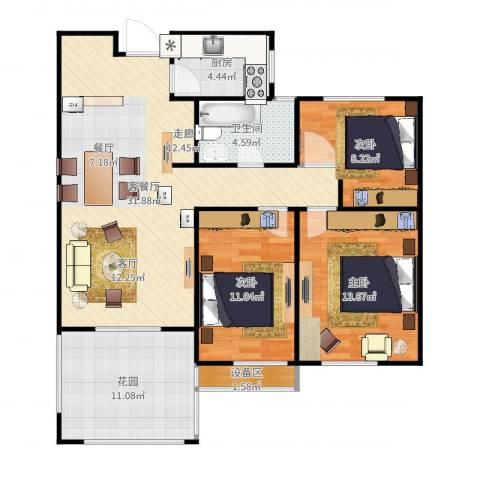 枫丹翡翠公馆3室2厅1卫1厨108.00㎡户型图