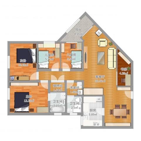 元洪花园5室2厅2卫1厨116.00㎡户型图