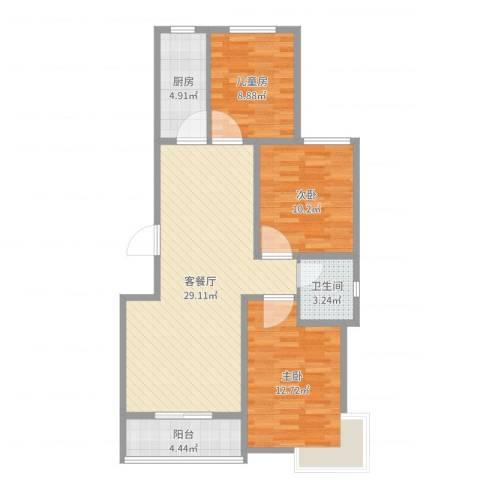 星湖湾3室2厅1卫1厨92.00㎡户型图