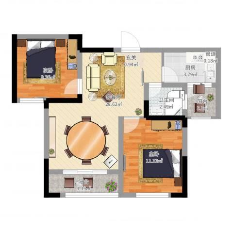 三江国际丽城C区澜岸2室2厅1卫1厨81.00㎡户型图