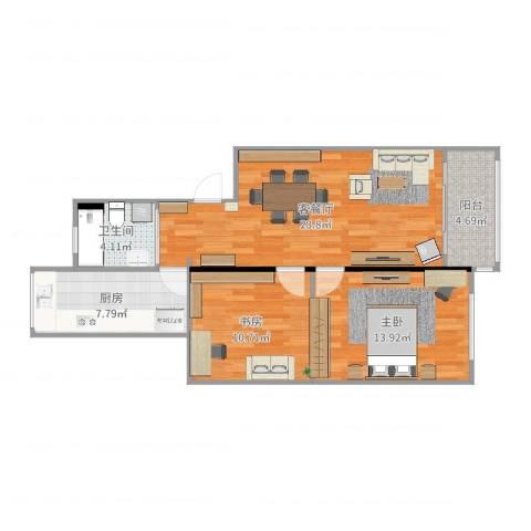 协和小区2室2厅1卫1厨81.00㎡户型图