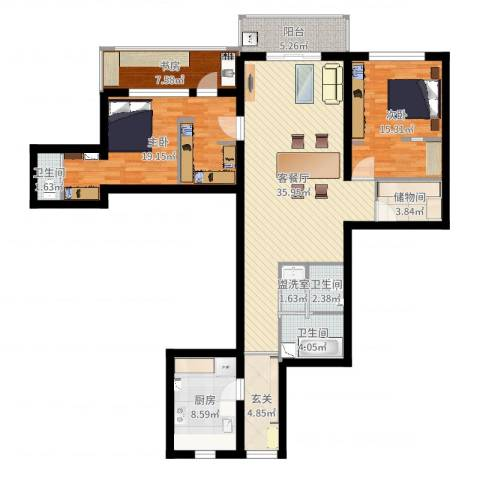 香樟公寓3室4厅3卫1厨138.00㎡户型图