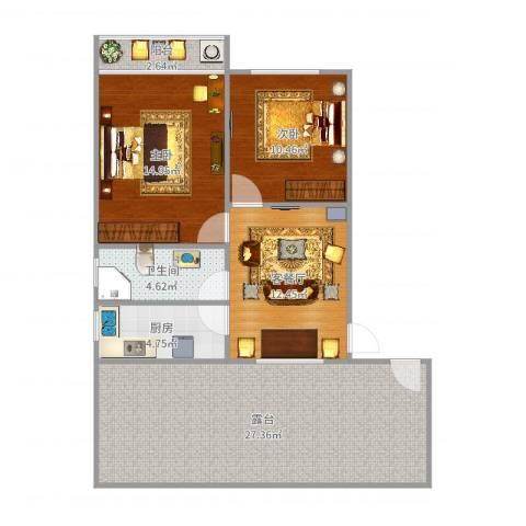 仙逸小区2室2厅1卫1厨97.00㎡户型图