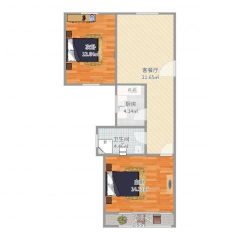 仙逸小区2室2厅1卫1厨75.00㎡户型图