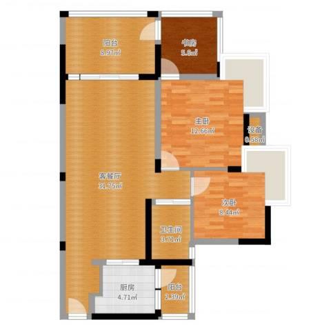 典雅・龙海港湾(一期)3室2厅1卫1厨99.00㎡户型图