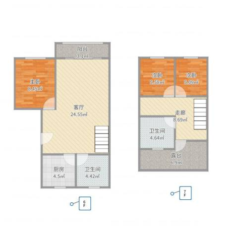仙霞大郡3室1厅2卫1厨95.00㎡户型图