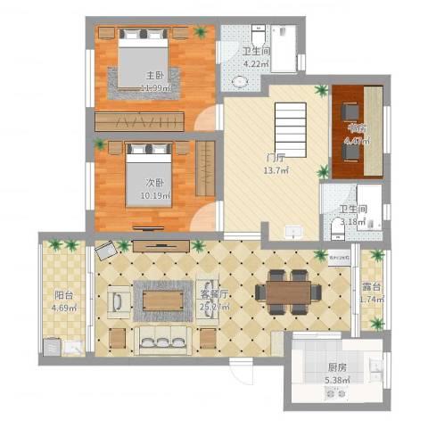 塘泾北苑3室2厅2卫1厨124.00㎡户型图