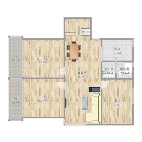 仙霞大郡3室4厅1卫1厨121.00㎡户型图