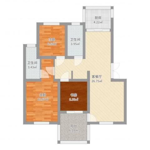 枫津新村3室2厅2卫1厨88.00㎡户型图