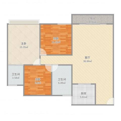 乐怡花园3室1厅2卫1厨116.00㎡户型图