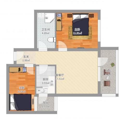 御庭华府2室2厅1卫1厨78.00㎡户型图