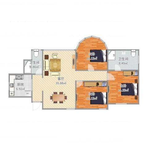 西郊家园3室1厅2卫1厨120.00㎡户型图