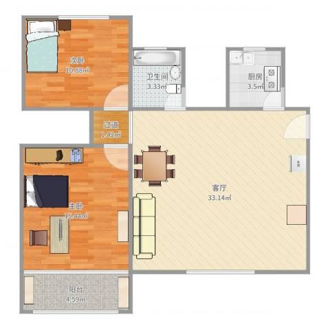 文缘村3号2022室1厅1卫1厨90.00㎡户型图