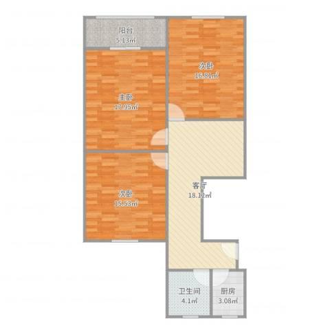 威宁小区3室1厅1卫1厨101.00㎡户型图