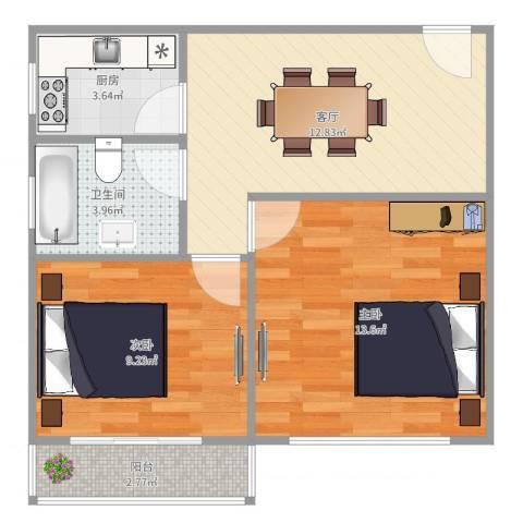 威宁小区2室1厅1卫1厨58.00㎡户型图