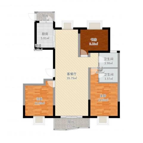 天山星城二期3室2厅2卫1厨122.00㎡户型图