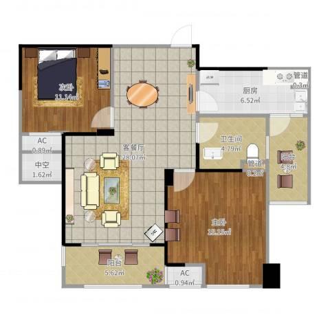 金科米兰米兰2室2厅1卫1厨100.00㎡户型图