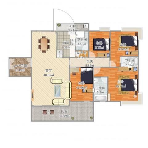 御林苑4室2厅4卫1厨182.00㎡户型图