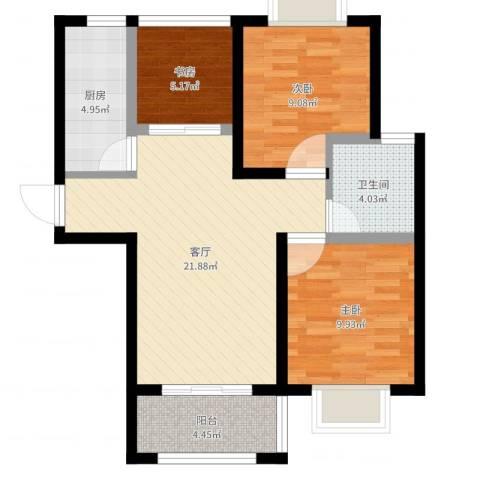 高巢3室1厅1卫1厨74.00㎡户型图
