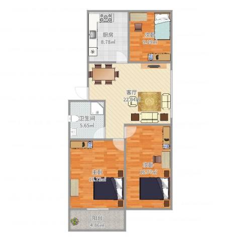 普利南辛花园3室1厅1卫1厨105.00㎡户型图