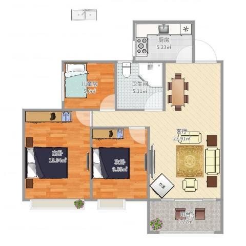 达安上品花园3室1厅1卫1厨68.36㎡户型图