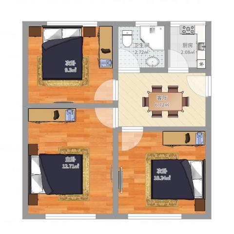 荡湾新村3室1厅1卫1厨55.00㎡户型图